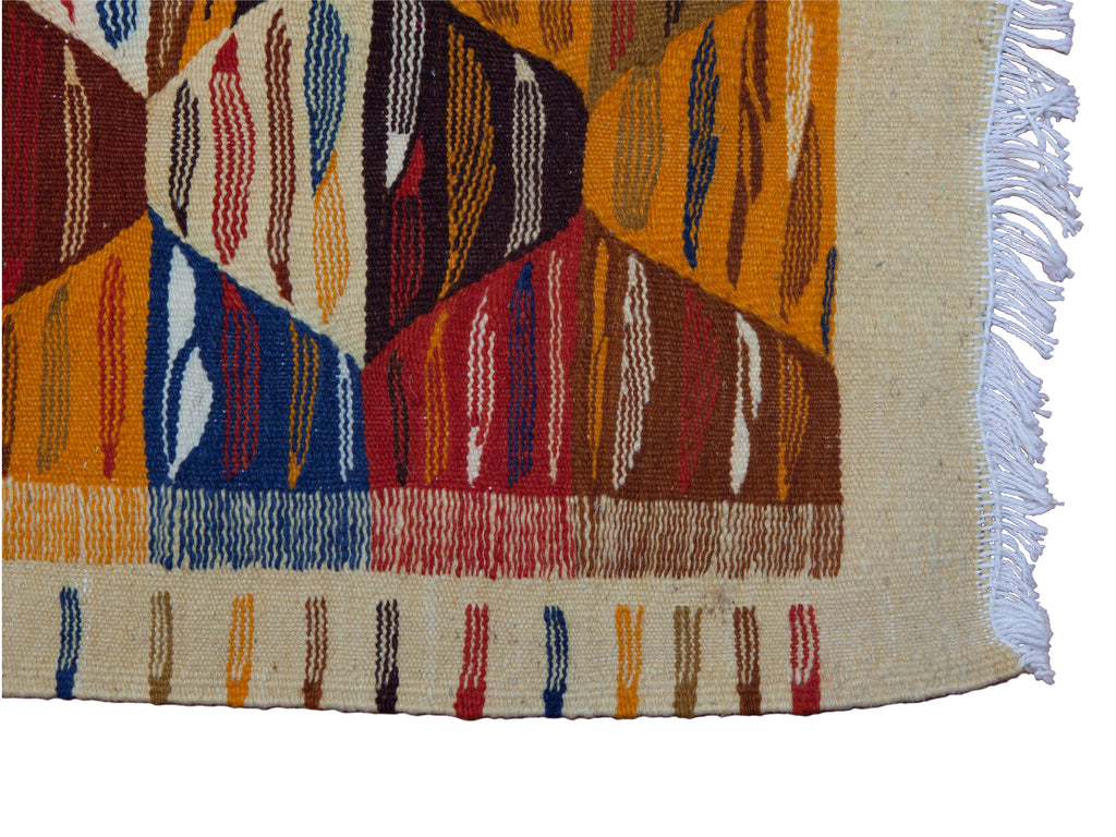 2 X 3 Multicolored Handwoven Moroccan Wool Kilim Rug / Wall Hanging