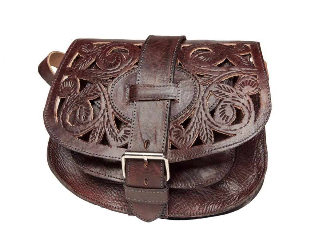 Cut Leather Saddle Bag - Chocolate