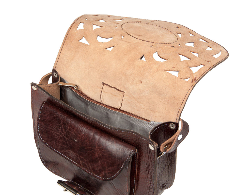 Large Cut Leather Saddle Bag - Chocolate