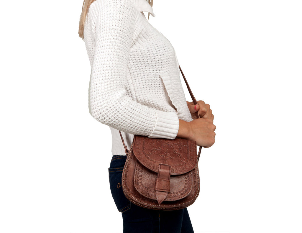 Zagora Leather Crossbody Bag, Brown
