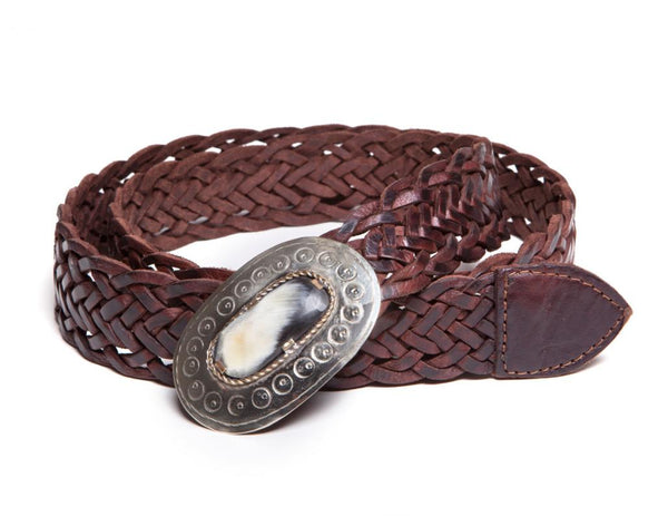 Oval Medallion Braided Belt - Brown