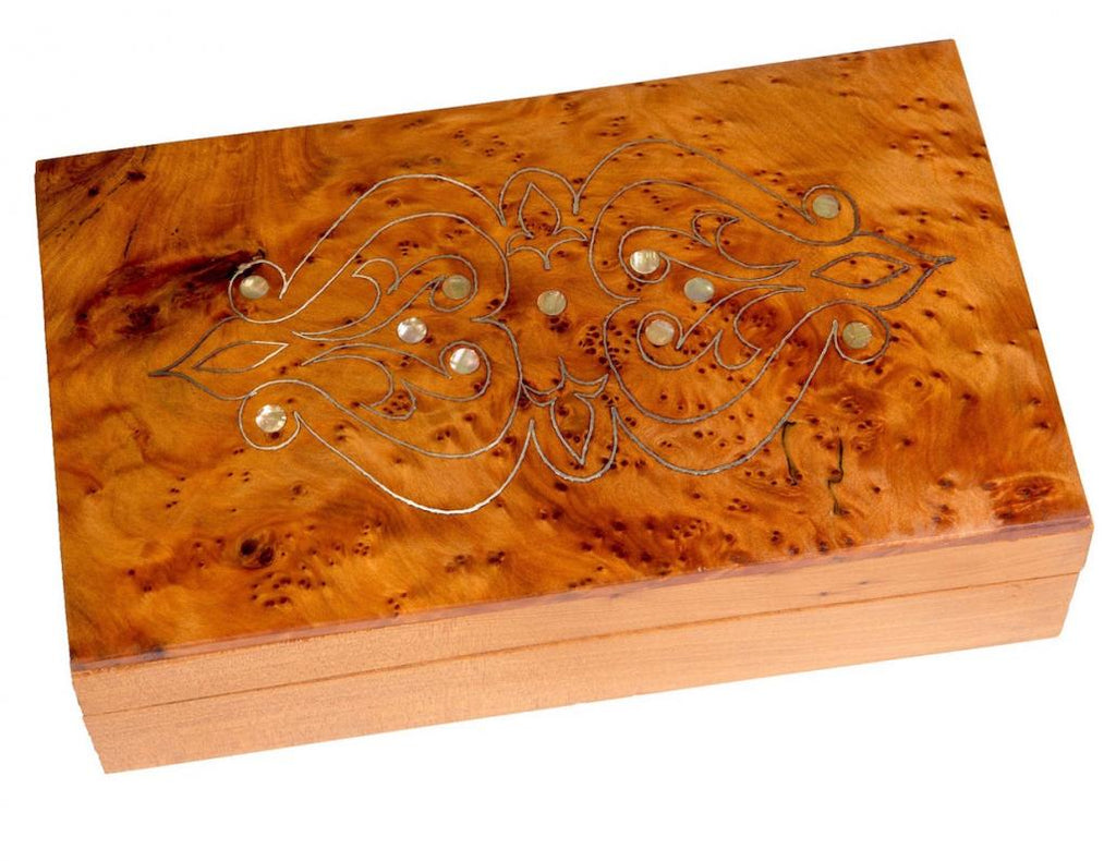 Light Mother of Pearl Box, Moroccan Thuya Wood