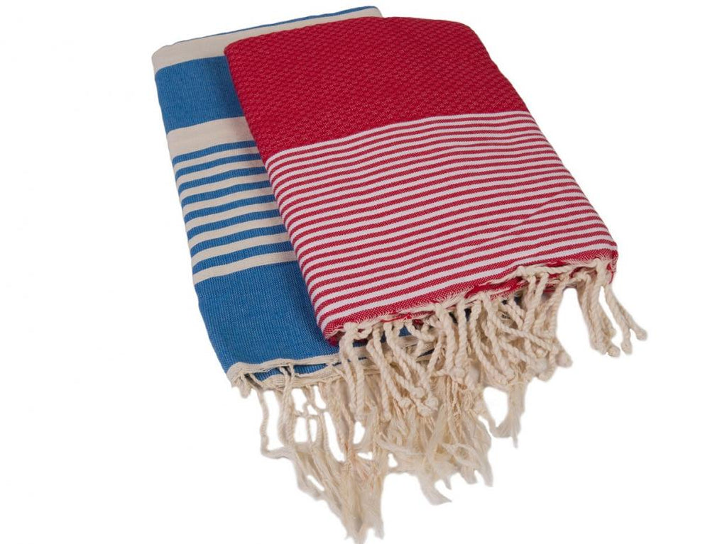 Hammam Towels - Set of 2 - Red & Blue