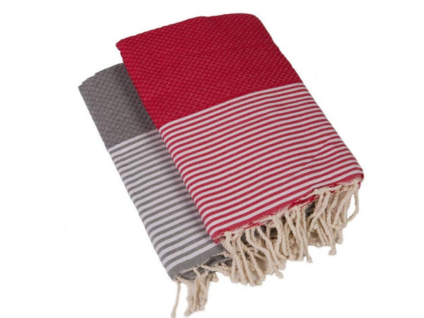 Hammam Towels - Set of 2 - Red & Grey