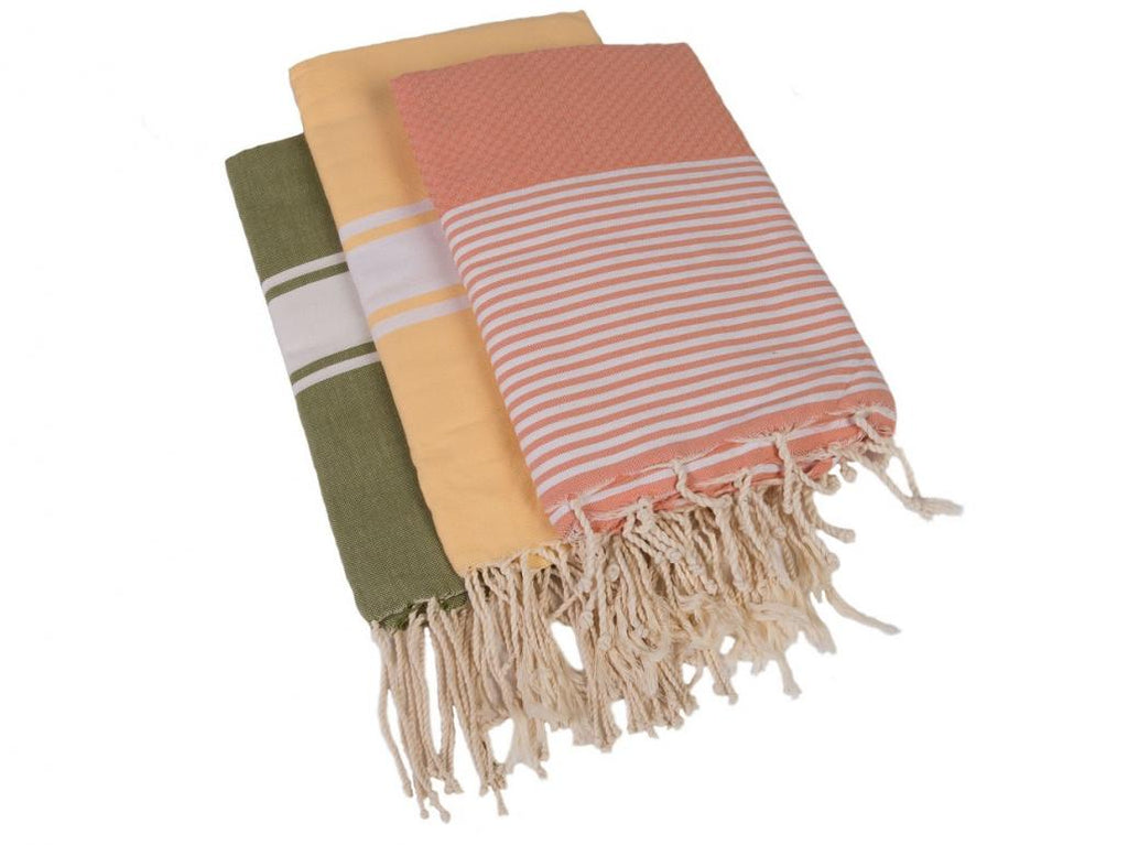 Hammam Towels - Set of 3 - Sage, Yellow & Peach