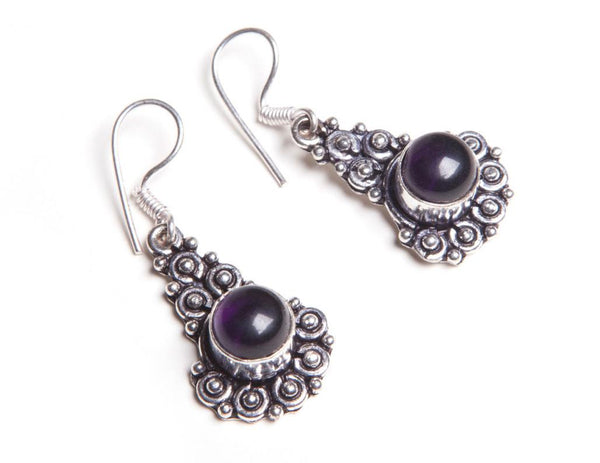Violet Glass Drop Earrings