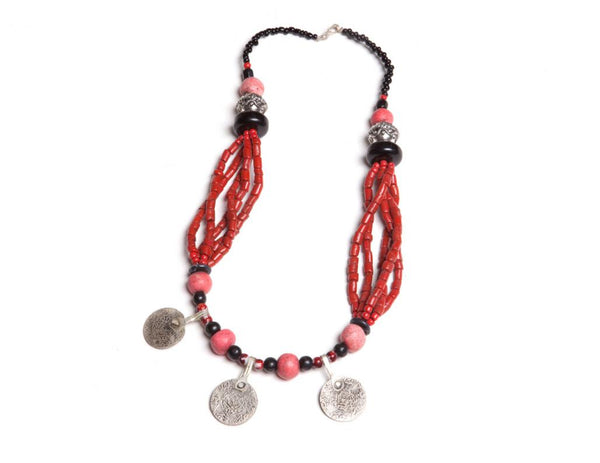 Berber Tribal Coin & Coral Necklace
