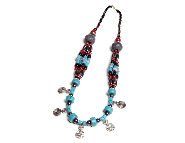 Berber Tribal Coin & Turquoise Necklace