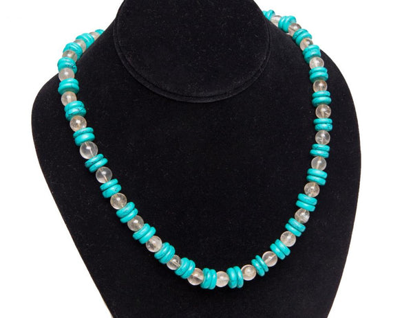 Moroccan Hand-Beaded Turquoise Necklace
