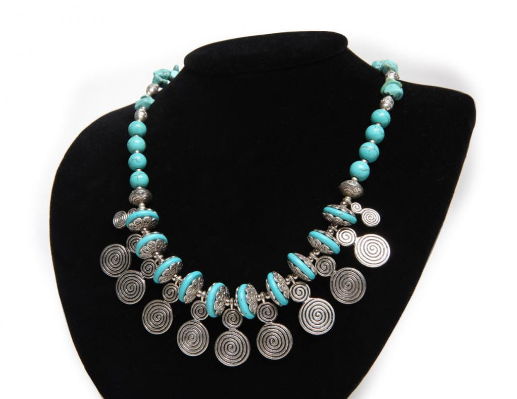 Turquoise & Spirals Necklace