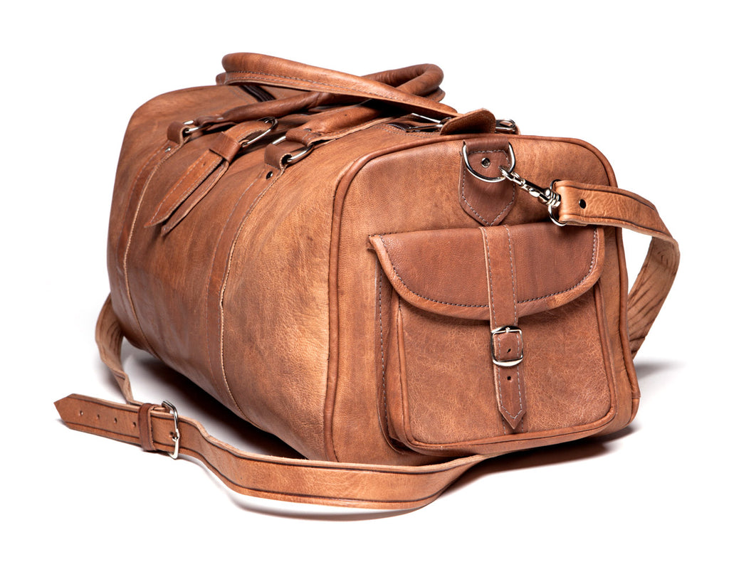Leather Duffel Bag - Tan
