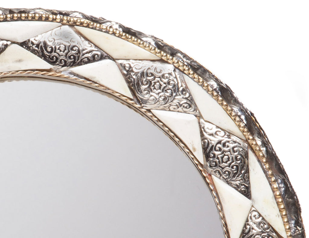"11"" Round Moroccan White Bone Mirror"