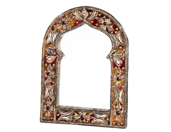 "13"" Keyhole Arch Leather Mirror"