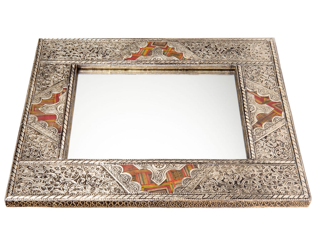 "20"" Moroccan Metal and Leather Mirror"