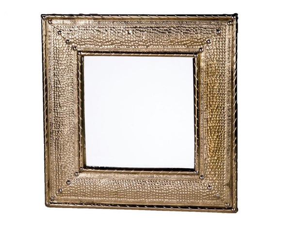 "16"" Hammered Metal Square Mirror"