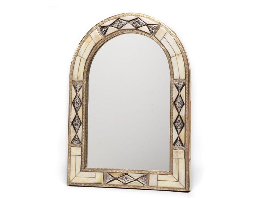 "18"" Moroccan Arched White Bone Mirror"