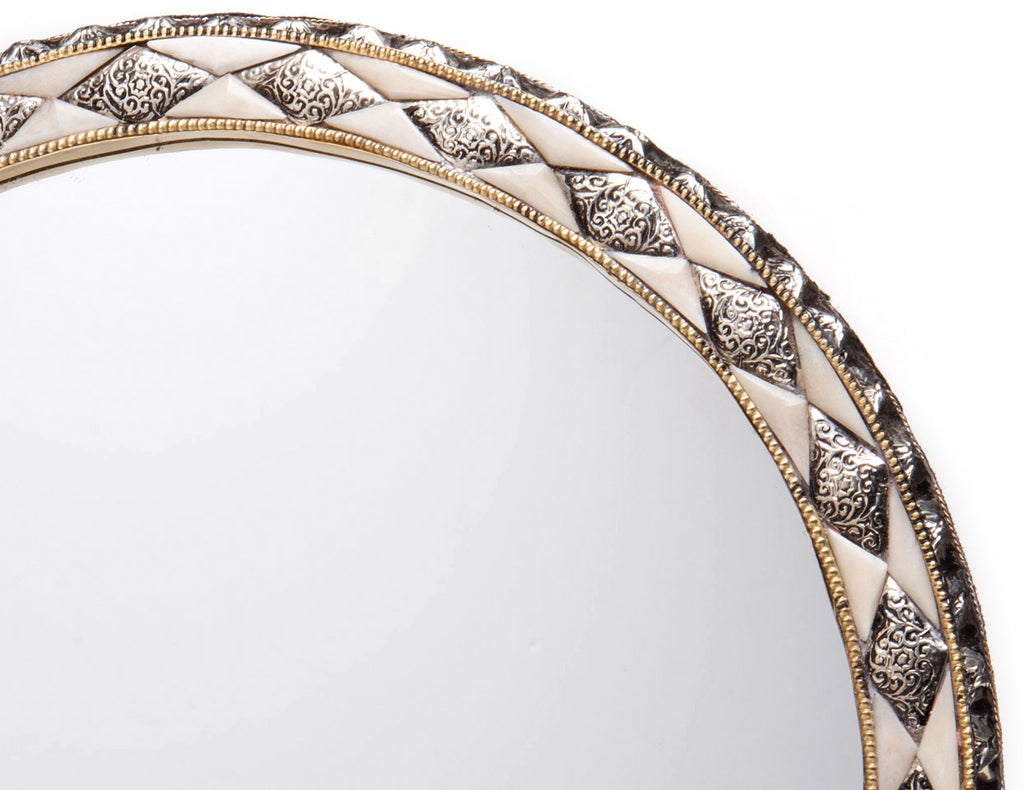 "18"" Round Moroccan White Bone Mirror"