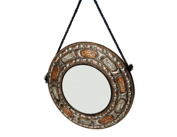 "18"" Round Moroccan Mirror with Rope"