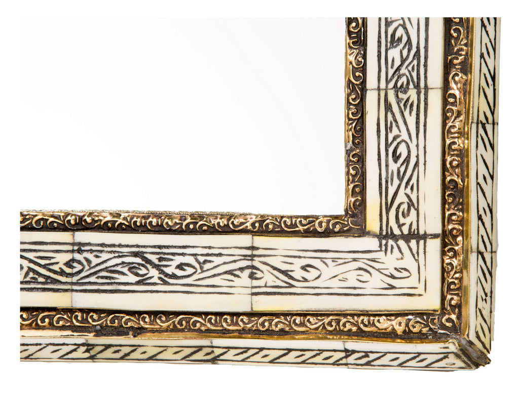 "20"" Moroccan Carved Bone Mirror"