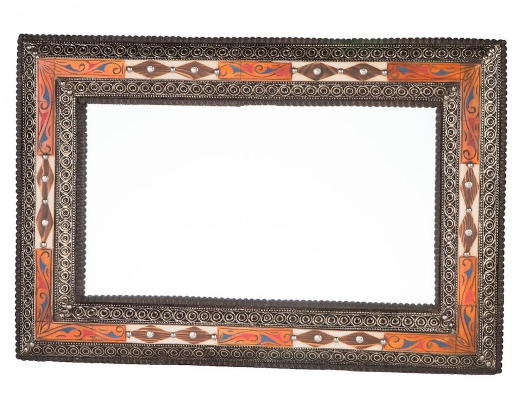 "24"" Embellished Henna and Natural Bone Mirror"