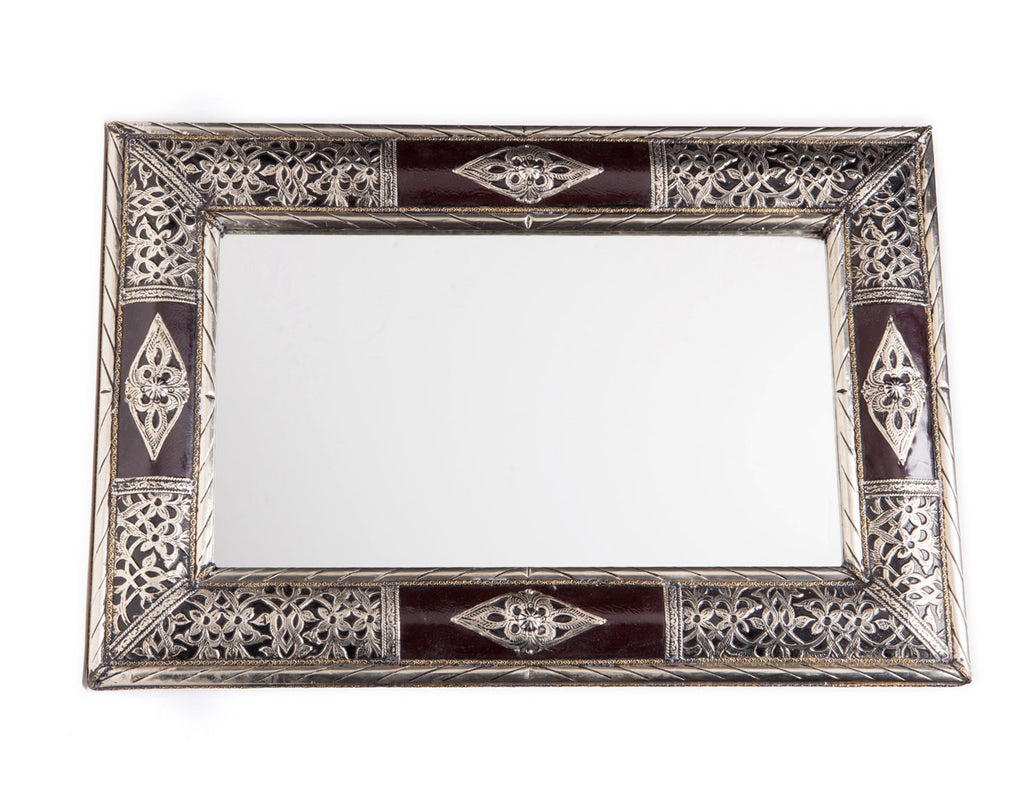 "24"" Moroccan Metalwork & Leather Mirror 2"