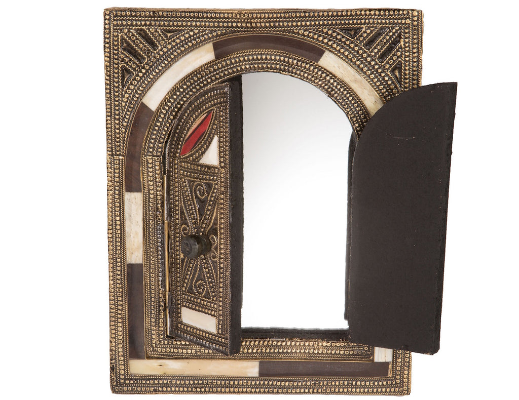"9.5"" White Bone Mirror with Arched Doors"