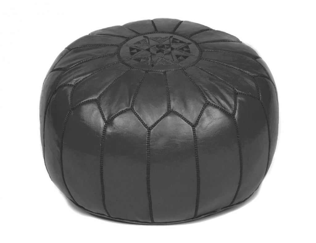 Black Leather Pouf, Stuffed