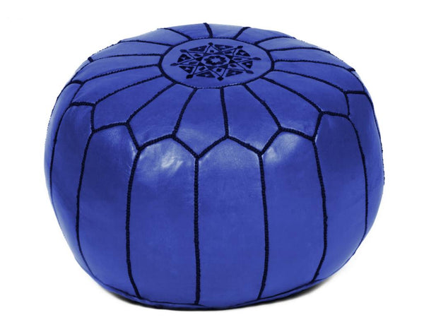 Marine Blue Leather Pouf, Stuffed