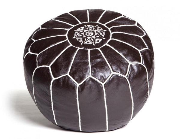 Dark Chocolate Brown Leather Pouf, Stuffed