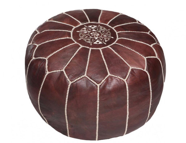 Brown Leather Pouf with White Stitching, Stuffed