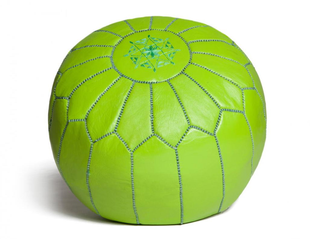 Lime Green Leather Pouf, Unstuffed