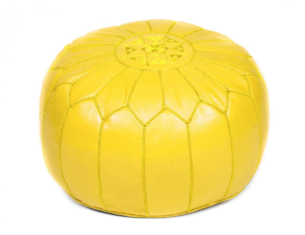 Lemon Yellow Leather Pouf, Stuffed