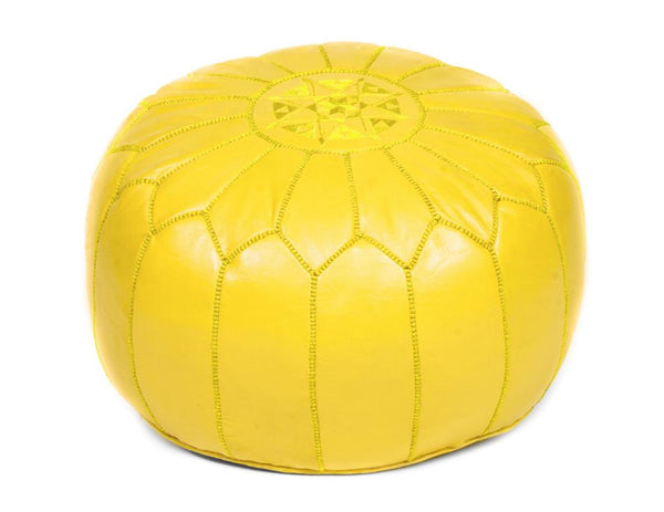 Lemon Yellow Leather Pouf, Unstuffed