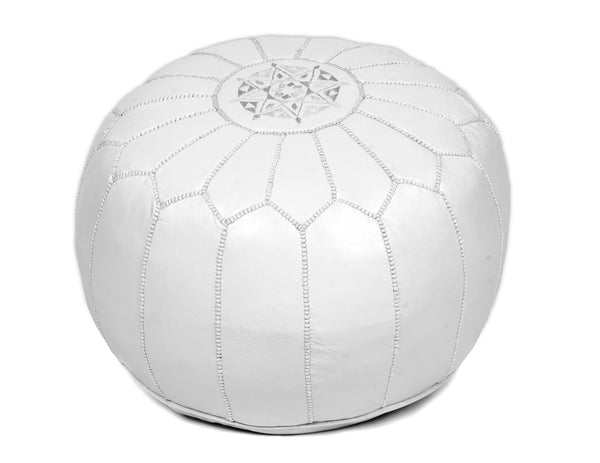 White Leather Pouf, Stuffed