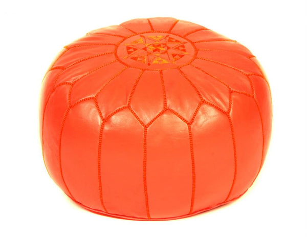Orange Leather Pouf, Unstuffed