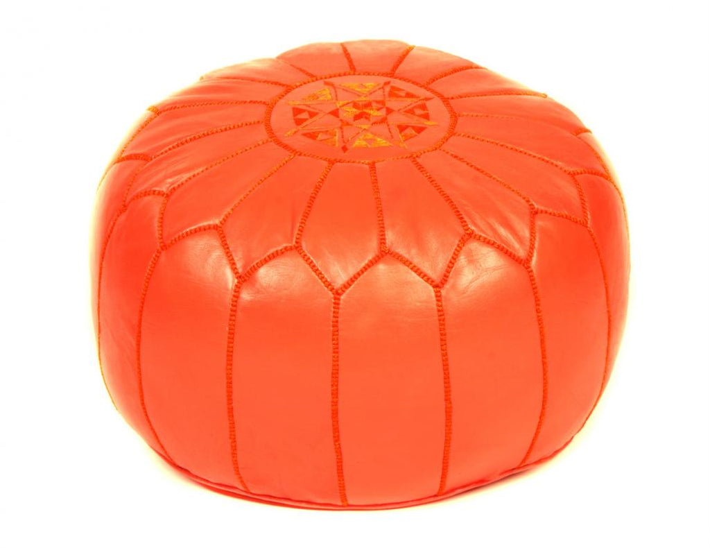 Orange Leather Pouf, Stuffed