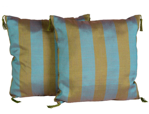 "16"" Olive & Blue Pillow Pair"