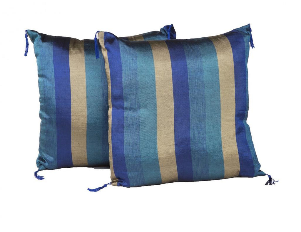 "18"" Indigo & Gold Pillow Pair"