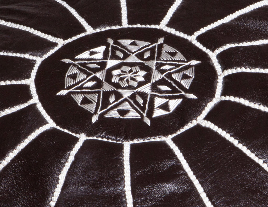 Black Leather Pouf with White Stitching, Stuffed