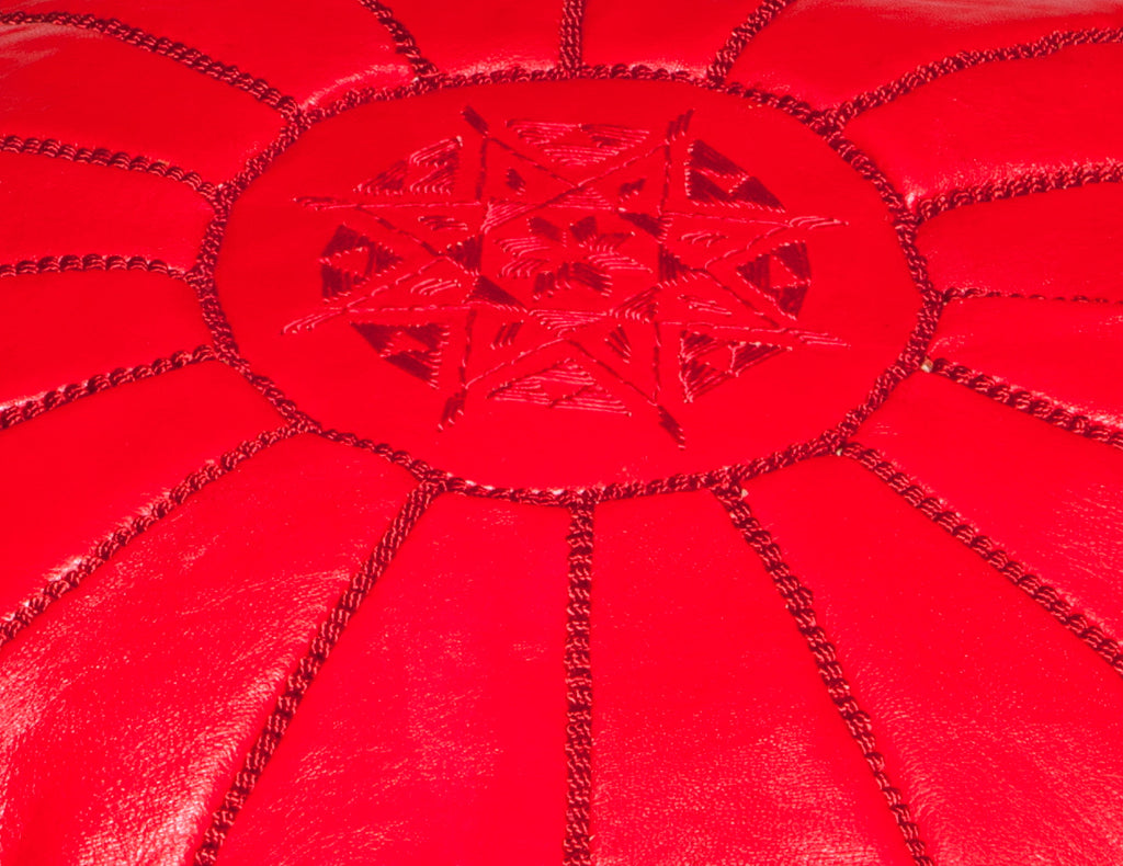 Classic Red Leather Pouf, Stuffed