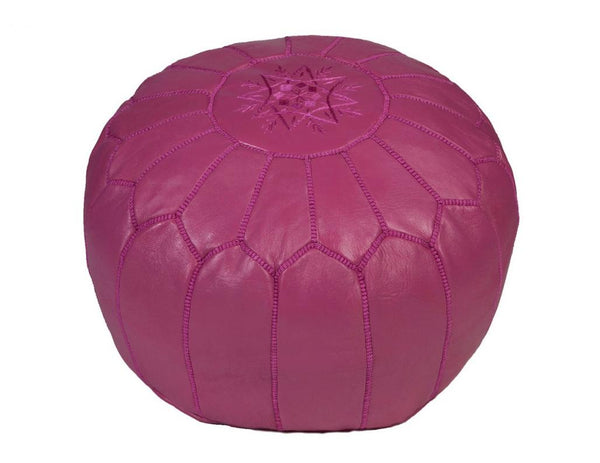 Fuchsia Leather Pouf, Stuffed