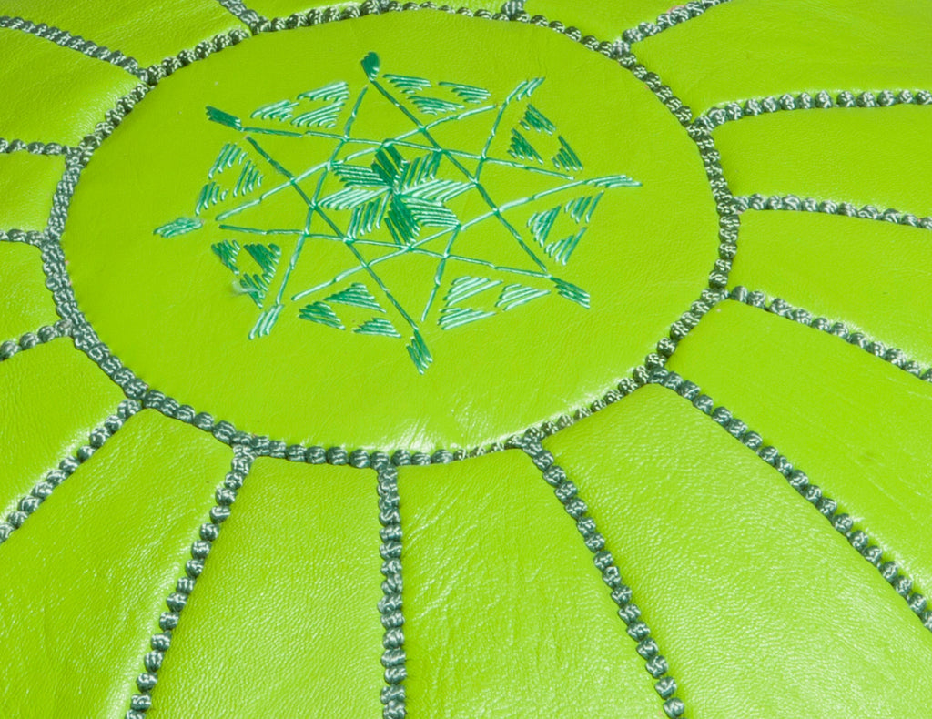 Lime Green Leather Pouf, Stuffed
