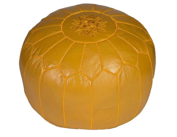 Mustard Leather Pouf, Stuffed