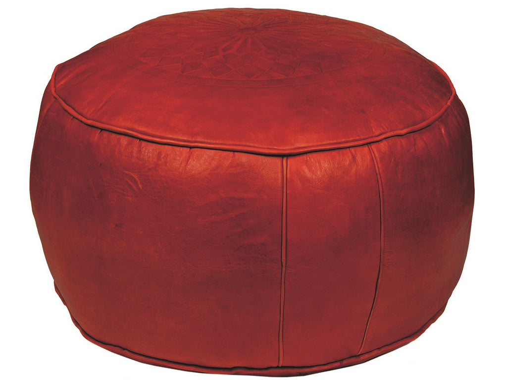 Burnt Orange Leather Pouf, Unstuffed