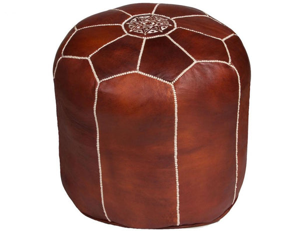Tall Brown Moroccan Leather Pouf, Stuffed