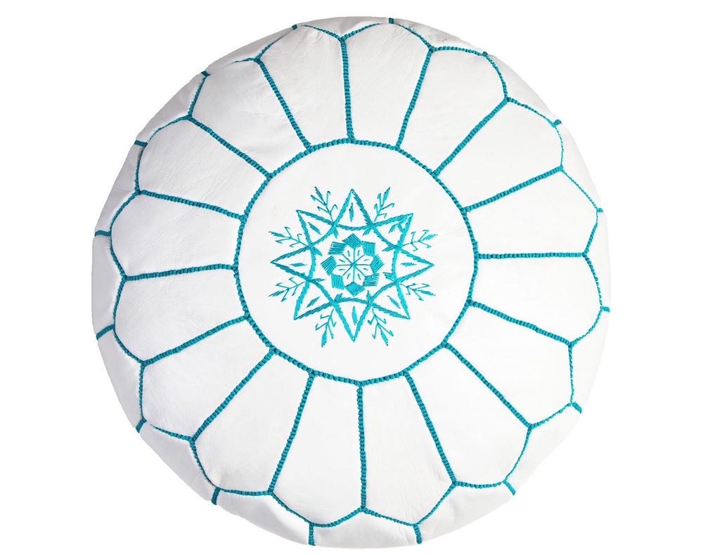 White with Teal Stitching Moroccan Leather Pouf