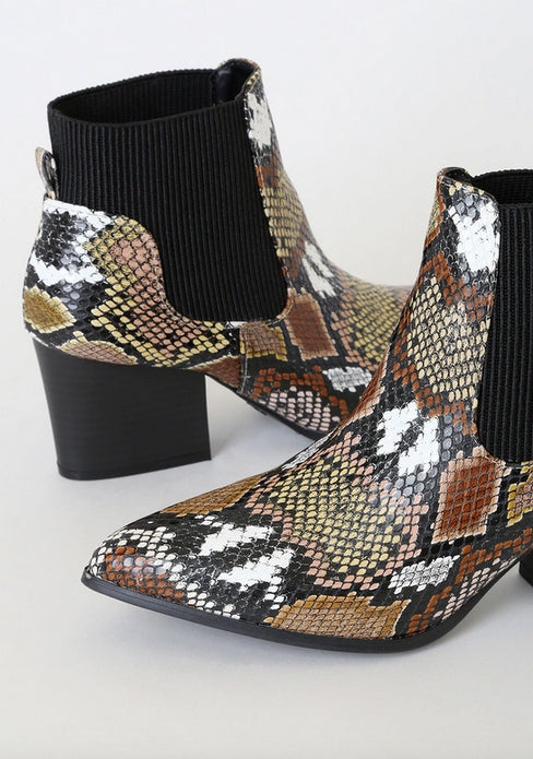 PYTHON ANKLE BOOTIES