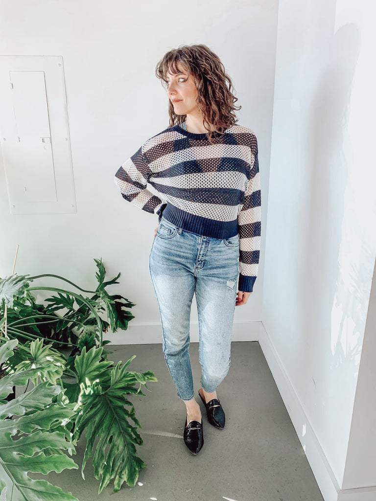 RAINE SEE THRU KNIT TOP