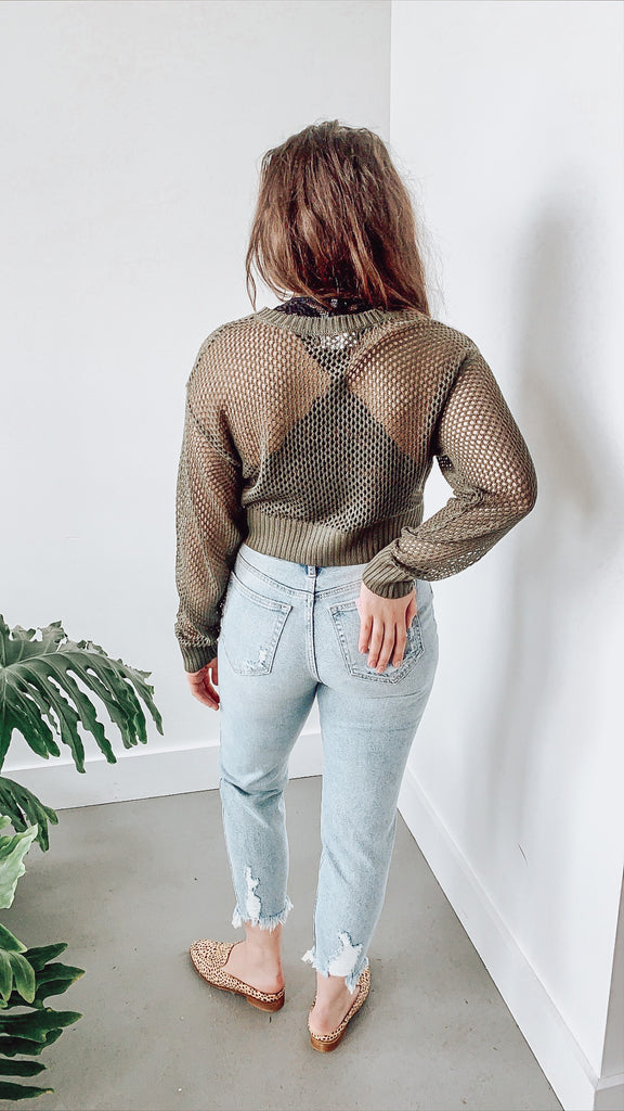 KORA SEE THRU KNIT TOP OLIVE