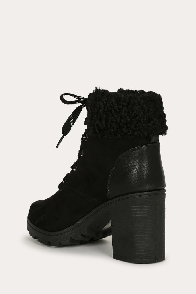 Sherpa Cuffed Lace up Stacked Ankle Boot